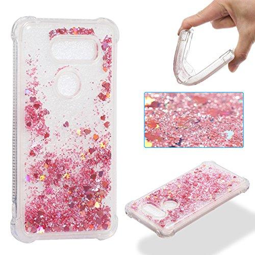 Lomogo LG V30 / V30+ (V30 Plus) Hülle Glitzer Flüssig Silikon, Schutzhülle Stoßfest Kratzfest Handyhülle Case für LG V30 (LGH930) / V30+ (LGH930G) - LOYBO36773 Rosa Gold