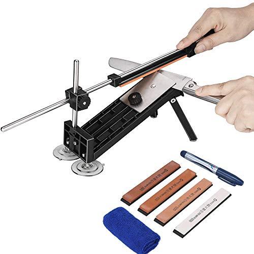 Dupeakya Professionelle Messerschärfer Fixed-Winkel Sharpener mit 4 Schleifsteinen Schleifsteine Schärfwerkzeug für Outdoormesser, Küchenmesser, Taschenmesser, Metzgermesser