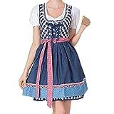 VEMOW Damen Kostüme Elegant Damen 3 Stück Dirndl Kleid Bluse Costumes rachtenkleid mit Stickerei Traditionelle Bayerische Oktoberfest Karneval(X2-Blau, EU-38/CN-L)