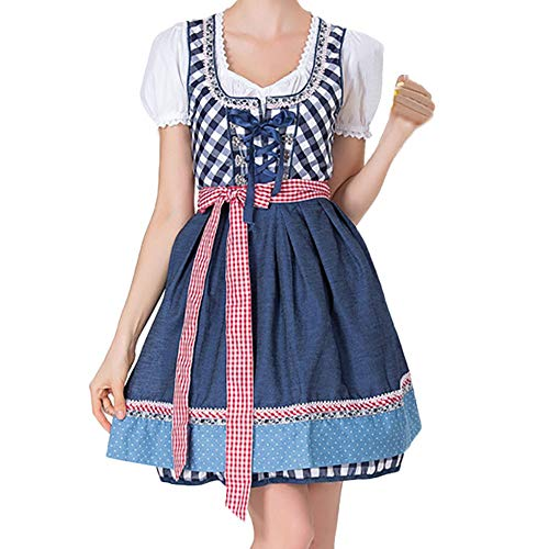 VEMOW Damen Kostüme Elegant Damen 3 Stück Dirndl Kleid Bluse Costumes rachtenkleid mit Stickerei Traditionelle Bayerische Oktoberfest Karneval(X2-Blau, EU-40/CN-XL)