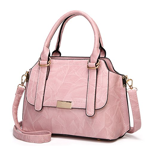 Frauen Braun Handtasche Tote Schulter Diagonal Bag Damen Top Griff Satchel Crossbody Kissen Tasche,Pink-25 * 12 * 20cm - Italienische Leder Schultertasche Satchel