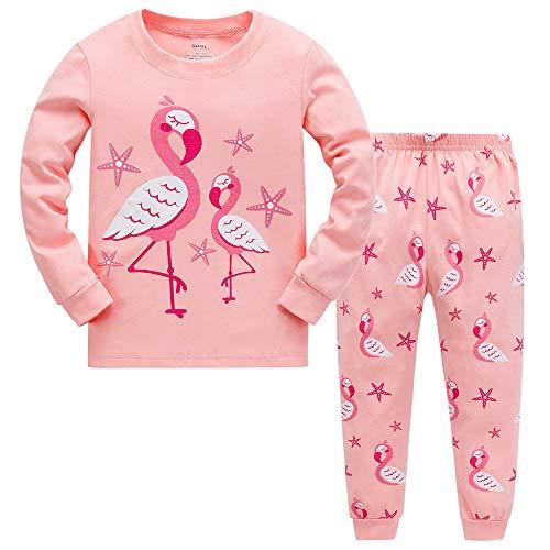 Tkiames Mädchen Pyjama Giraffe Langarm Baumwolle Schlafanzug Set Nachtwäsche Nachtwäsche Gr. 2-3 Jahre, Flamingo 2 - 2 Stück Fleece-schlafanzug
