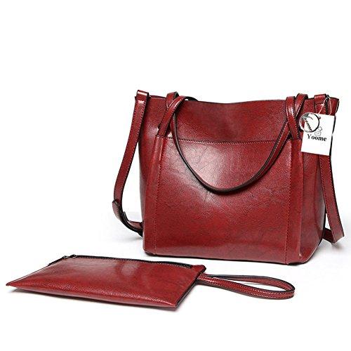 Tote Bags Messenger in pelle morbida da lavoro vintage in morbida pelle da lavoro di Yoome - Nero Borgogna