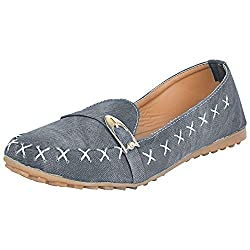 Footrendz Womens Denim Synthetic Leather Loafers (36 EU)