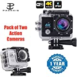Padraig Wi-Fi 4K Waterproof Sports Action Camera - 4K Ultra HD, 16MP,2 Inch LCD Display With Action Camera 1080p 2-Inch Lcd 140 Degree Wide Angle Lens