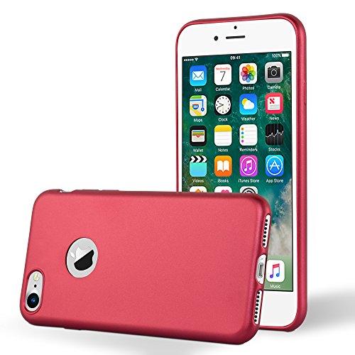 Cadorabo - Ultra Slim TPU Gel (silicone) Coque Métallique Mat pour Apple iPhone 7 - Housse Case Cover Bumper en METALLIC-ROUGE METALLIC-ROUGE