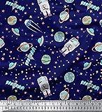 Soimoi Blau Baumwolle Ente Stoff Astronaut & Planeten