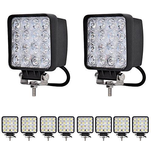 10stück 48W LED Lampe Rechteck Arbeitsbeleuchtung Scheinwerfer Spot Arbeitsscheinwerfer Zusatzscheinwerfer Nebelscheinwerfer Offroad Arbeitslicht IP67 Wasserdicht