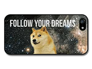 New Funny Doge Dog Meme Space Follow Your Dreams Inspirational coque pour iPhone 5 5S