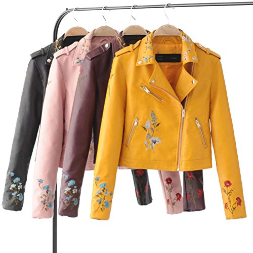 Zhhlaixing New Women's Fashion Embroidery Flora PU Giacca in pelle Donna Zipper Motorcycle Jacket Multi-flower Stitching Outerwear Black
