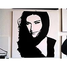 Laura Pausini Cadre moderne bois Panneau MDF peint à la main POP ART Effect (format 40x 40cm)