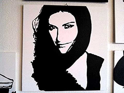 Laura Pausini Album Framework Modern Panel MDF Wood Hand Painted Pop Art Effect (Formato 40x