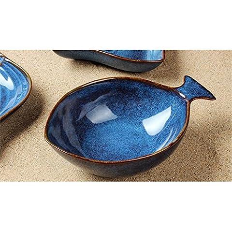 Creativo retro océano vajilla cerámica merienda plato de fruta plato de ensalada de pescado rechoncha