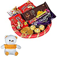 Valentines Day Chocolate Gift Hamper | Valentine's Day Gift Combo for Him, Her, Husband, Wife, Loved Ones, Girl Friend | Valentine Special Teddy | 1484