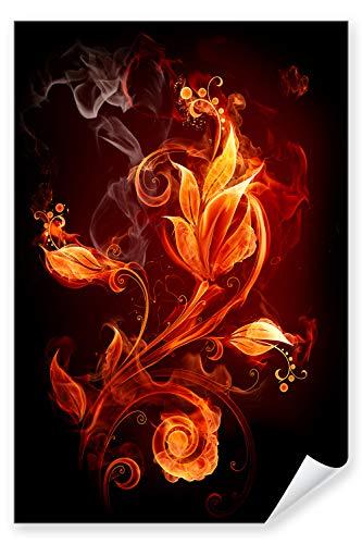 Postereck - Poster 0025 - Feuer Blume Bluete Pflanzen Flamme Lilie Rauch Liebe Größe DIN - A4-21.0 cm x 29.7 cm