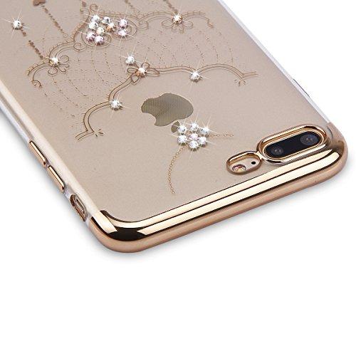 Paillette Coque pour iPhone 7/iPhone 8,iPhone 8 Coque Silicone Étui Ultra Mince Housse, iPhone 7 Souple Coque Etui en Silicone, iPhone 7 Silicone Case Soft TPU Cover, Ukayfe Etui de Protection Cas en  Collier dentelle
