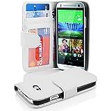Cadorabo - Book Style Hülle für HTC ONE MINI (2.Gen. M8) - Case Cover Schutzhülle Etui mit 3 Kartenfächern in MAGNESIUM-WEIß