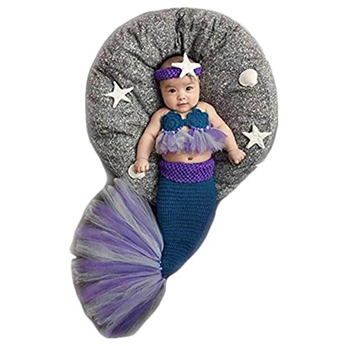 ografie Props Kostüm Jungen Mädchen Baby Fotografieren Fotoshooting Set Requisiten Accessoire Meerjungfrau Sets (Meerjungfrau-baby-outfit)