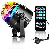 Disco de la pelota de fiesta de luz Disco de LED de luz de LED de efectos con mando a distancia 7Color RGB Luz de DJ con 3W, modo de música para fiestas, bodas, Baile