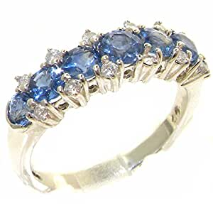 Luxurious Solid Sterling Silver Natural Sapphire & 0.25ct Diamond Eternity Anniversary Ring - Size J