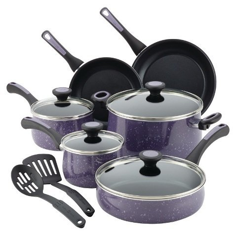paula-deen-12-piece-riverbend-aluminum-nonstick-cookware-set-lavender-speckle-by-paula-deen