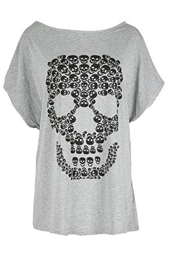 Damen Halloween Baggy Lagenlook Top Damen Gespenstisch Schädel Fledermausärmel Unheimlich Locker Sitzend T-shirt - grau, (T Halloween Shirt)