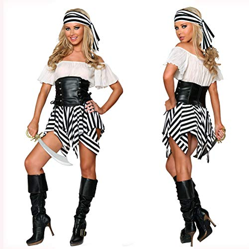 Hersteller Kostüm Tanz - XUDSJ Halloween,Lack Kleid,hexenkostüm, Halloween Party Kostüme Frauen Sexy Piraten Kostüm Lustige Cosplay Party Kleidung (Color : White, Size : One Size)