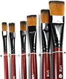 Tenflyer Pack of 6 Art Brown Nylon Paint Brushes for Acrylic