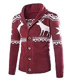 Uomo Cardigan Basic con Bottoni Cappotto di Maglione Regali di Natale Giacca di Maglione Caldo ed Elegante Vino Rosso S