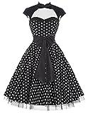 damenkleider elegant festlich polka dots kleid petticoat kleid XL BP031-1