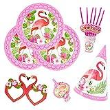 kingmate Party Set Flamingo - Party Set für Geburtstag Kindergeburtstag Mottoparty, Tischdeko Partygeschirr Set für 6 Personen