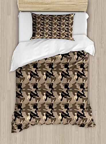 Single Size Bedding Duvet Cover Set Camo Duvet Cover Set, Classic Camouflage Pattern in Earth Tones Equipment Fashion, Decorative 3 Pieces Bedding Set, Taupe Dark Tan