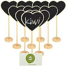 Bcony Cuore in legno Mini lavagna Lavagnette messaggi Wordpad per numero tavolo per feste e matrimoni segnaposto/impostazione decorazione natalizia, set da 10