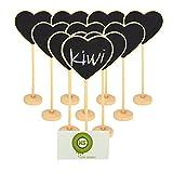 Bcony Herz Mini Tafel Kreidetafeln Holz WordPad Nachricht Board Halter mit Ständer für Party Hochzeit Tisch Nummer/Tischkarte Einstellung Dekoration,Set von 10