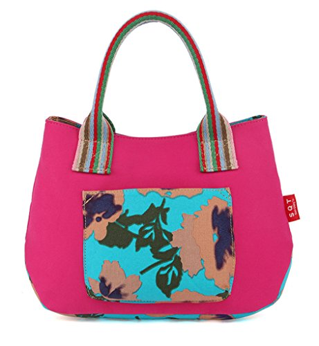 Fortunings JDS® Novità di colore di contrasto di modo floreale tela stampata borsa tote rosa rossa