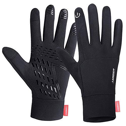 coskefy Touchscreen Handschuhe Sport Elastisch Leicht Atmungsaktiv Outdoor Gloves Damen Herren Rutschfest Winddicht Winter Motorrad Fahrrad Camping Wandern Bergsteigen(Schwarz-B,M)