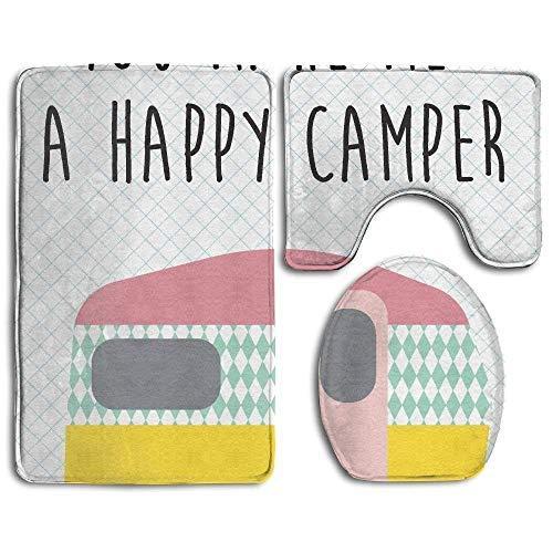 cwb2jcwb2jcwb2j rutschfestes 3-teiliges Badteppich-Set Happy Camper Bedruckt, weiche Badematten-Vorleger Set, weiche rutschfeste WC-Deckelbezug