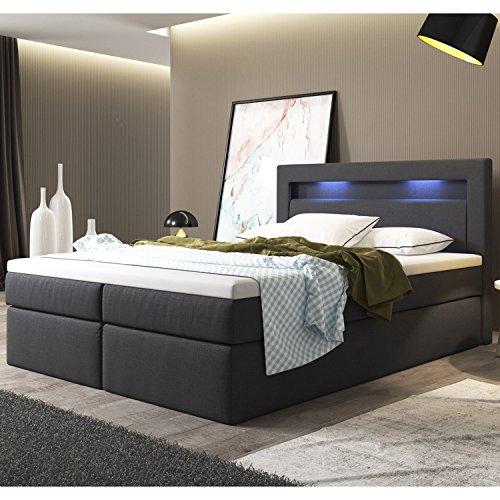 ArtLife Boxspringbett Memphis mit Bettkästen 180 x 200 cm (dunkelgrau) – Premium-Doppelbett mit Webstoff inkl. Bonell-Federkernmatratzen, Kopfteil, LED-Beleuchtung & Topper