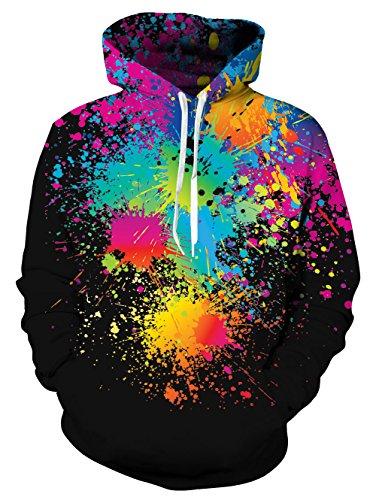 (NEWISTAR Herren Hoodie 3D Druck Kapuzenpullover Grafik Langarm Sweatshirt Pullover Top Jumper Large)