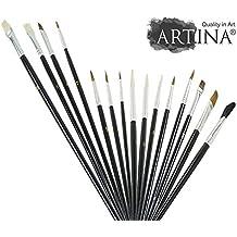 Artina Set de 15 pinceles con diversas brochas redondas planas para pintura al óleo acuarela y acrílica