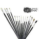 Artina 15er Pinsel Set Malen - Malpinsel Borstenpinsel Flachpinsel Rundpinsel Haarpinsel für Acryl Öl & Aquarell Malerei
