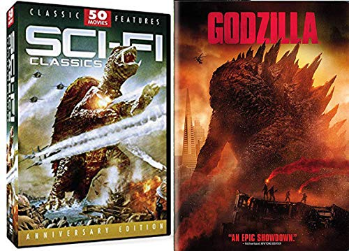 Showdown Cosmic Heroes battling and prevailing Against All Cheesy Odds: Sci-Fi Classics 50 Movie Pack + Godzilla DVD