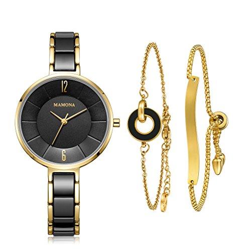 MAMONA Damen Uhr analog Japanisches Quarzwerk mit Edelstahl und Schwarz Keramik Armband Set L3887BKGT