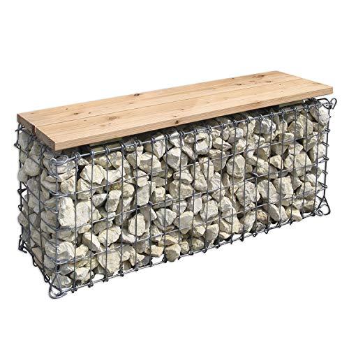 Gabionen-Gartenbank Sitzfläche aus naturbelassenem Holz