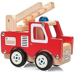 Coche de bomberos con escalera y luz azul madera juguete 13cm de largo