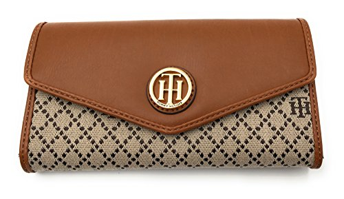 Tommy Hilfiger Damen Wallet Passcase Portmonnaie Geldbörse Geldbeutel beige/braun (Passcase Wallet Braun)