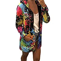 Lazzboy Womens Jacket Coat Sweatshirt Hoodie Tie-Dyed Colourful Print Zipper Pocket Loose Outerwear Hooded Overcoat(2XL,Black)