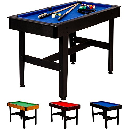 Maxstore 4 ft Billardtisch COMPACT + Zubehör, 3 Farbvarianten, 122x61x76 cm (LxBxH), Schadstoffgeprüft, schwarzes Holzdekor, Blaues Tuch