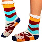 Winter Weihnachts Socken Damen (1 Paar) | Warme bunte Flamingo Motive im Norweger Hütten Socken Style | Anti Rutsch Noppen | (Größe 35 – 40)