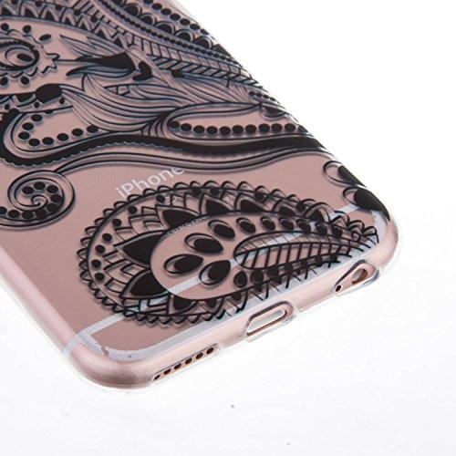 Coque iPhone 6S,Coque iPhone 6,Étui iPhone 6S,ikasus® Coque iPhone 6S / 6 Silicone Étui Housse Téléphone Couverture Transparent TPU avec Black peinte Motif Mandala de fleurs Ultra Mince Premium Semi H Noir Mandala fleurs en dentelle # 1